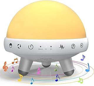 YACHANCE - Luces nocturnas para niños, luz de noche para bebé, color blanco con control táctil, ajuste de sincronización, 31 sonidos, 7 colores cambiables con RGB para niños... blanco