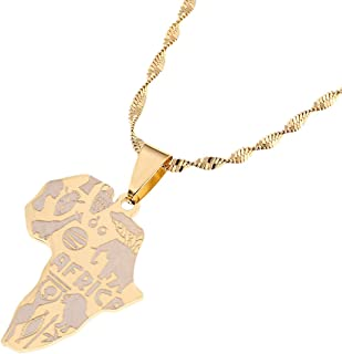 Africa Map Pendant Necklaces Map of African Elephants Lions Giraffes For Women