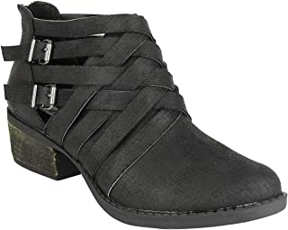 Not Rated Gael Multi Strap Bootie with Side Cut outs on a low stack leather Heel