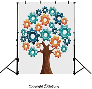 5x7Ft Vinyl Industrial Decor Backdrop for Photography,Innovation Gears Concept Tree the System of Nature Cooperation Start Up Modern Graphic Background Newborn Baby Photoshoot Portrait Studio Props Bi