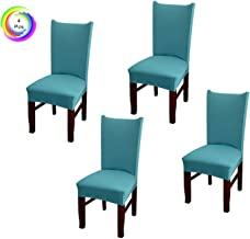 House of Quirk Elastic Chair Cover Stretch Removable Washable Short Dining Chair Cover Protector Seat Slipcover - Green (Pack of 4)