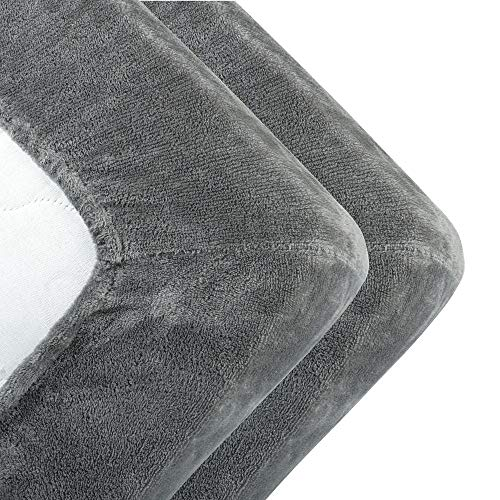 MALIKA kuschelige Cashmere-Touch Spannbettlaken Jersey Fleece Spannbetttuch Bett, Kinderbett Couch Flauschiges Laken Tagesdecke,Grau,2er Pack 90x190 - 100x200 cm