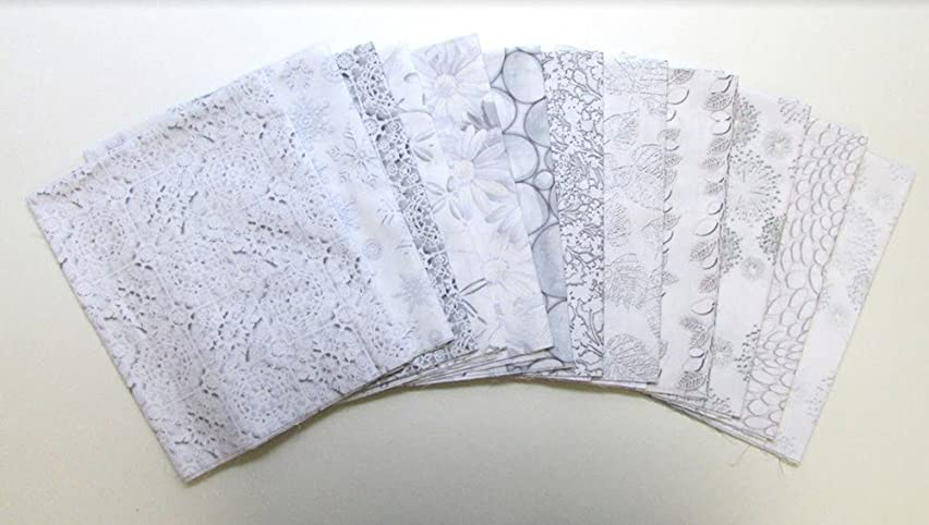 White Out Grey with Blue Tones 12 pc Cotton Fabric Quilting FQs Assortment by Benartex Studio
