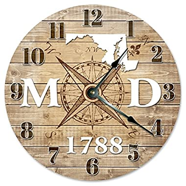 MARYLAND CLOCK Established in 1788 Decorative Round Wall Clock Home Decor Large 10.5  COMPASS MAP RUSTIC STATE CLOCK Printed Wood Image