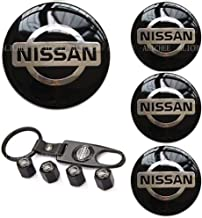 Alichee 4PCS 65MM Car Emblem Badge Sticker Wheel Hub Center Caps Cover +Tire Valve Stem Caps Cover with Keychain (fit for ...