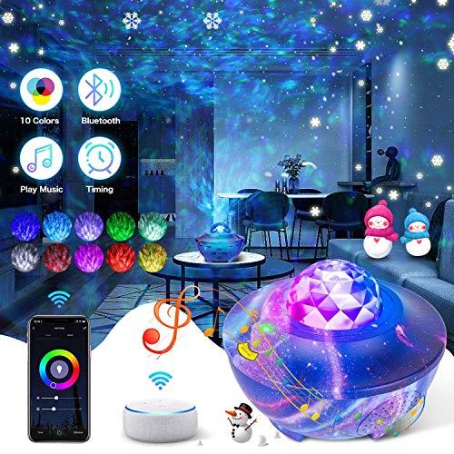 proiettore a luce stellare Lampada Proiettore Stelle,Proiettore a Luce Stellare LED Lampada Musicale Romantica Collegati all'Assistente Google con Telecomando