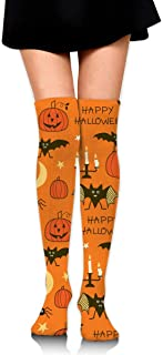 MKLOS 通気性 圧縮ソックス Breathable Classic Warmer Tube Leg Stockings Happy Halloween Party Patterns Exotic Psychedelic Print Compression High Tube Thigh Boot Stockings Knee High Women Girl