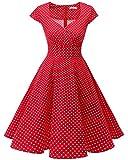Bbonlinedress Vestido Corto Mujer Retro Años 50 Vintage Escote En Pico Red Small White Dot XS