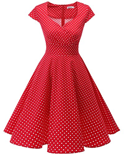 bbonlinedress 1950er Vintage Retro Cocktailkleid Rockabilly V-Ausschnitt Faltenrock Red Small White Dot L