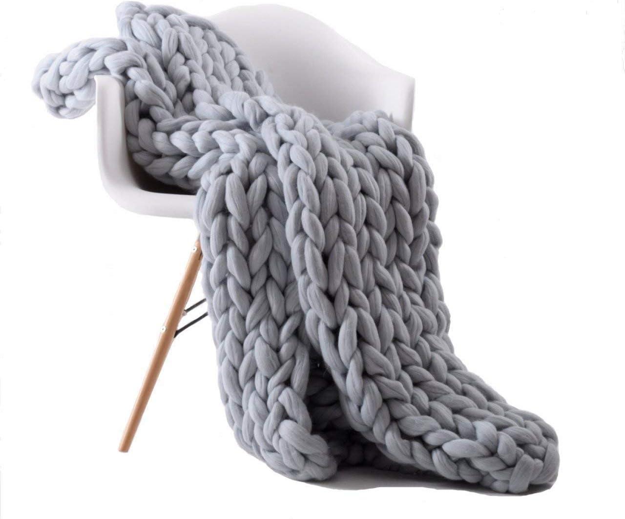Giant yarnKnit Time sale Blanket Handmade Omaha Mall Thick Bulky Knitting Wool Chunky