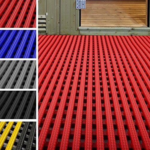 etm Tapis antidérapant caillebotis PVC | idéal Surface Humide | Tapis intérieur extérieur, Tapis Industriel | multigrip, 120x100cm - Rouge