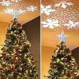 GEEDIAR LED Weihnachtsbaum Spitze weihnachtsstern Projektor Beleuchtung für Weihnachten Deko (Stern Silber)
