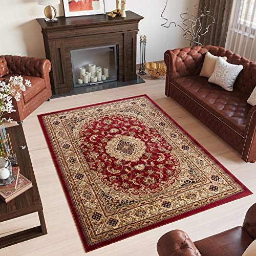 Tapiso YESEMEK Klassisch Teppich Kurzflor Orientalisch Teppiche Ziegler Floral Medaillon Muster und Bordüre in Rot Beige Elegant Barock Design Wohnzimmer ÖKOTEX 140 x 190 cm