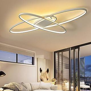 Moderna lámpara de techo LED para salón, regulable con mando a distancia, diseño ovalado de 3 anillas, lámpara de techo de metal acrílico para dormitorio, comedor, baño, cocina, 95x65x9cm