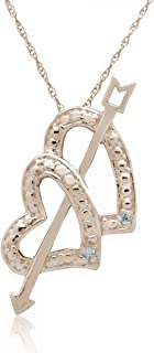 0.01 Ct Ttw Arrow Double Heart Diamond Pendant in 10K Rose Gold with 18'' Chain