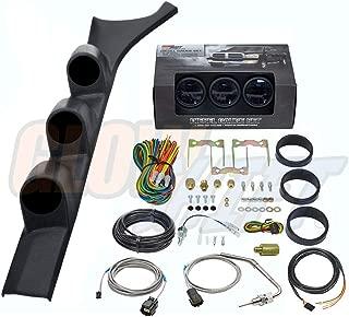 GlowShift Diesel Gauge Package for 1986-1993 Dodge Ram Cummins First 1st Gen - Tinted 7 Color 60 PSI Boost, 1500 F Pyrometer EGT & Transmission Temp Gauges - Black Triple Pillar Pod