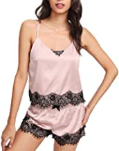 Coolred Womens Charmeuse Shorts Elegent Cami Two Piece Sleepwear Set
