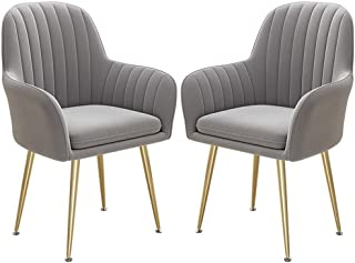 ZCXBHD 2 Piezas sillas Comedor Retro Sillón Respaldo Alto Las piernas Metal Sillas Cocina con Respaldo y Asiento Acolchado for el Ocio Sala recepción Sillas (Color : Gray)