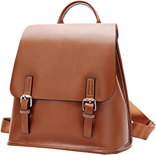 Women's Leather Backpack Casual Daypack Style Flap Backpacks for Ladies (Brown)