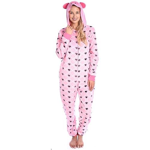 f9d582da9c48 Body Candy Women s Plush Adult Animal Hood Onesie Pajama (Perfect Piglet