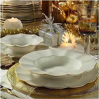 Vaisselle 24 Pièces, Ensemble D'assiettes,Ensemble De Service, 6 Bols, 6 Assiettes À Dessert, 6 Assiettes Creuses, 6 Assie...