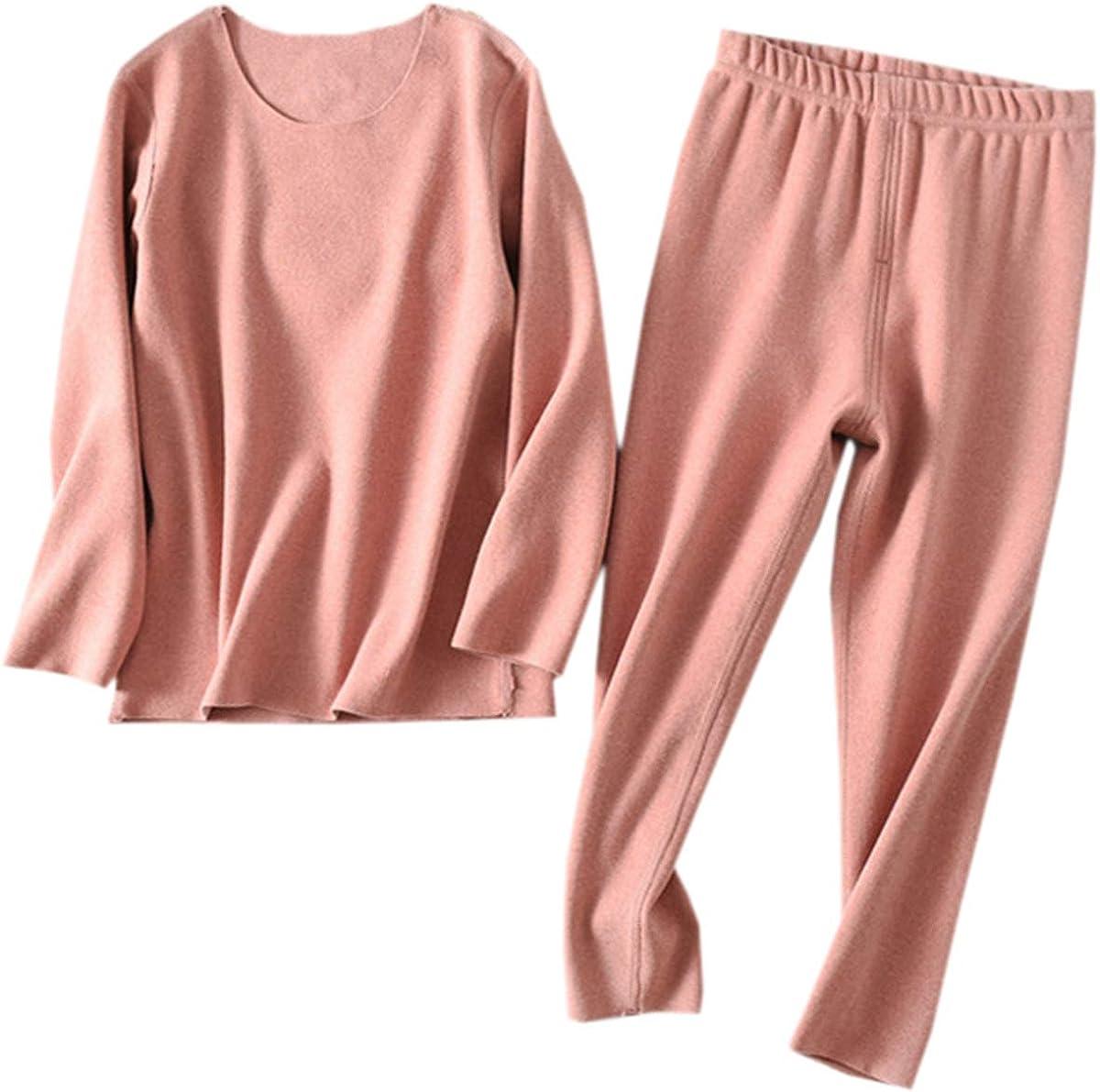 Kids Girls Pajamas Set, Solid Color Soft Thermal Long Sleeve Pullover T-Shirt Tops + Matching Pants Sleepwear Loungewear Pajamas Set, Solid Pink, 18-24 Months = Tag 100