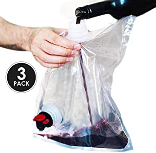 Wine Purse Replacement Bags- Innovative Easy to Fill Screw Top- Holds 4 Bottles of Wine- 3 Liter (100 oz) Disposable, Reusable Wine Pouch - For Use in Wine Purse with Hidden Spout- (Pack of 3)