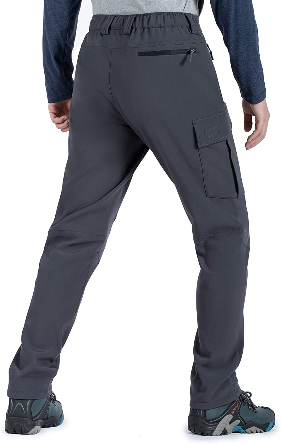 Hiauspor Mens-Fleece-Lined-Hiking-Pants Water Resistant Outdoor Softshell Pant Warm for Winter,Snow Ski/…