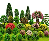 SKYCOOOOL 48 Pieces Model Trees 1.36-6 inch Mixed Colorful Model Tree Train Scenery Architecture Trees Fake Trees for DIY Crafts, Building Model, Scenery Landscape Natural Green