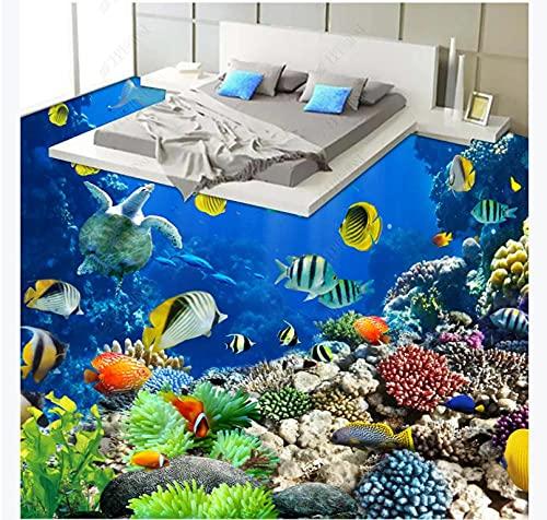 Pegado a las baldosas de la cocina Vinilo hermoso Inodoro bioestático tropical subacuático Baño Piso 3D-250 * 175 Salón comercial Centro comercial Piso 147D
