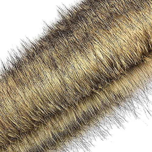 Braun Faux Wolf Pelz Stoff Langer Stapel 70mm Luxus Shag Stoff Für Heimwerker Kostüm Kamera Bodendekoration Plüschtier Pelzkragen Sitzkissen(Size:4m)