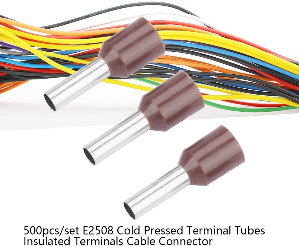 500pcs//set E2508 Terminal Tubular Terminal de Crimpado en Fr/ío Bloque de Terminales de Crimpado de Pasador Marr/ón
