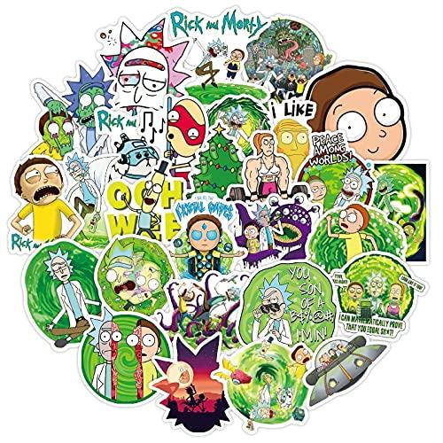 Dibujos animados Anime Rick Pegatinas Impermeable Monopatín Viaje Maleta Teléfono Portátil Equipaje Pegatinas Lindo Niños Niña Juguetes 50pcs