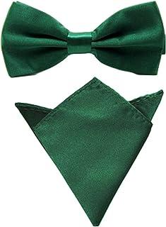 Men Satin Solid Color Pre-tied Tuxedo Bowtie Bow Tie Handkerchief Pocket Square Set (Dark Green)