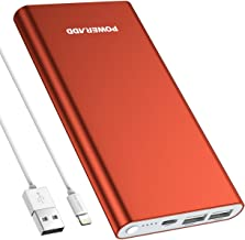 POWERADD Pilot 4GS 12000mAh Power Bank with 8 Pin Input, Compatible with Smartphones, Tablet and More, Coral Red (MFi 8-Pin Cable Include)