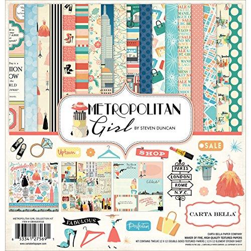 Echo Park Paper Metropolitan Girl Collection Kit Carta Bella, aplicable, Multicolor, 31.75 x 30.48 x 0.45 cm