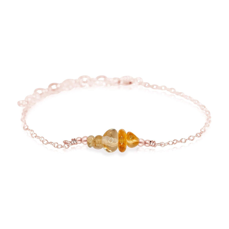 Citrine Chip Bead Bar Bracelet Rose Fill in Very popular! Trust 14k Gold
