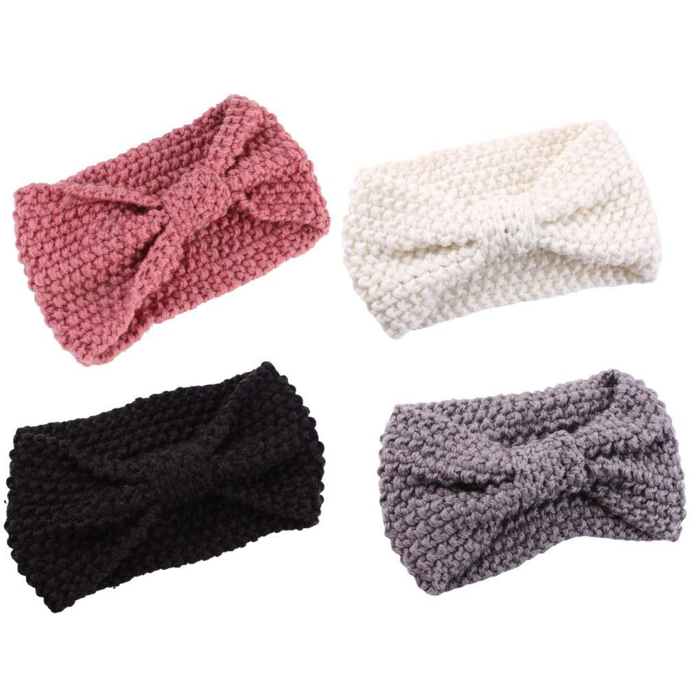 Minkissy 4pcs Knit Headband Crochet Head Bands Cozy Bowknot Winter Ear Warmer Head Wraps for Women Girls (Black, White, Grey, Pink)