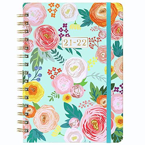 2021-2022 Tagebuch - A5 Woche zum Anzeigen Planer, Jul 2021 - Jun 2022, 21,5 x 15,5 x 1,5 cm, Flexibles Blumen-Hardcover mit dickem Papier, elastischer Verschluss, Innentasche