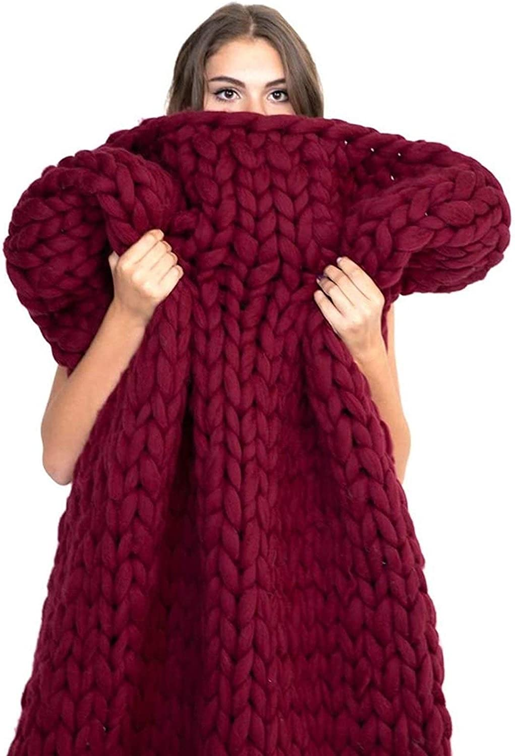 NEW before selling ZCXBHD Cable Chunky Hand shipfree Throw Blanket Knit Accent