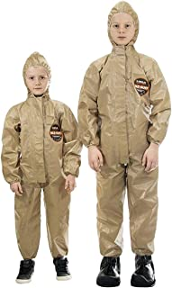 MIRA SAFETY Hazmat Suit Disposable Protective Coverall with Respirator-Fit Hood and Elastic Cuff Size (YL)