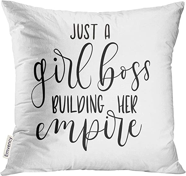 Golee 抱枕套 Just Girl Boss Building 她的帝国灵感短语现代女权主义引用白色刻字装饰枕套家居装饰方形 16x 16 英寸枕套