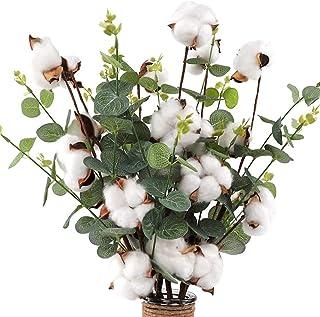 "CEWOR 6pcs Cotton Stems 23.5"" Cotton Flowers 4 Cotton Heads with Eucalyptus Leaves Per Stem Cotton Floral Stems for Home F..."