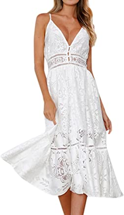 Womens Summer Dresses Short Sleeve Sexy Deep V Neck Floral Lace Empire Casual Swing Beach A Line Midi Sundress
