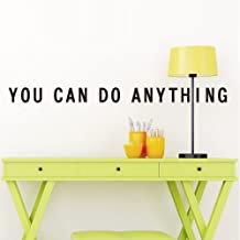 Motivational Quote Wall Decal: Inspirational Saying Adhesive Wall Sticker Decals Art Quality Vinyl Transfer Easy Application and Removal Beautiful Home Office School College Decoration (You Can)