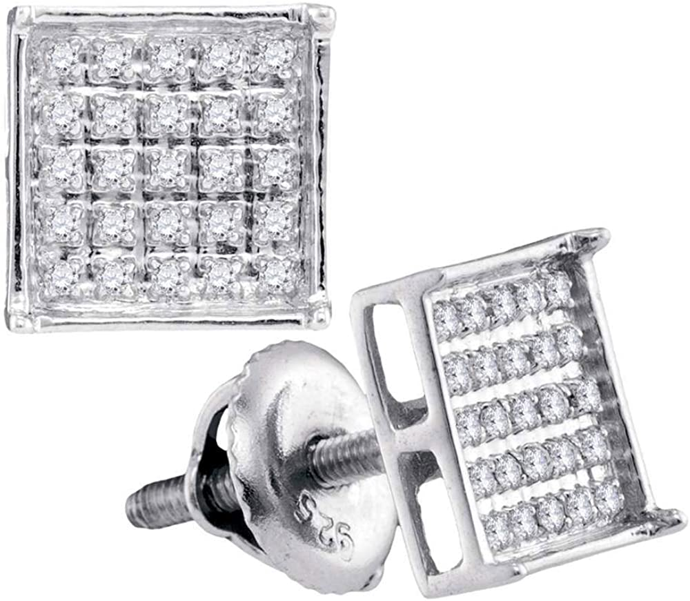 10kt White Gold Unisex 5 ☆ very popular Round Earring Stud Cluster Inexpensive Square Diamond
