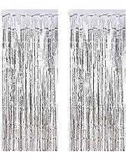 knowing 2 cortinas de lámina metálica, para decoración de ceremonias nupciales (plata)