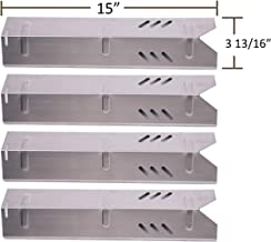 BBQ funland SH1591 (4-pack) Stainless Steel Heat Plate for Gas Grill Models Uniflame GBC1059WB, Backyard BY13-101-001-13, DynaGlo, Better Home&Garden, 15 inch Heat Shield Tent Flame Tamer Burner Cover