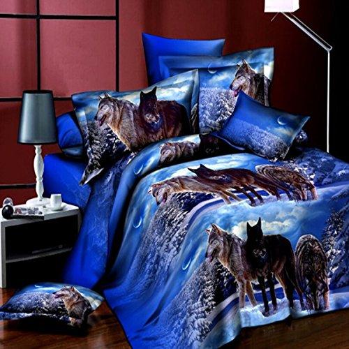 dDanke, Set di biancheria da letto con stampa 3D di lupi nella neve, 4 pezzi, per letto matrimoniale da 1,8 m (il set include 1 copripiumino, 1 lenzuolo e 2 federe)