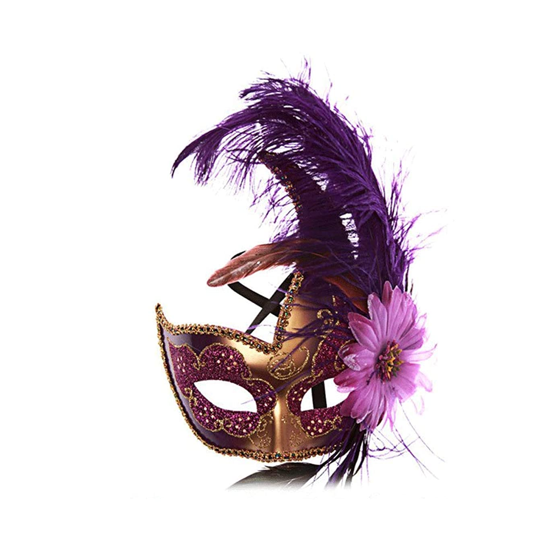 一般化する姉妹ヘビーNanle ハロウィンマスクハーフフェザーマスクベニスプリンセスマスク美容レース仮面ライダーコスプレ (色 : Style B purple)